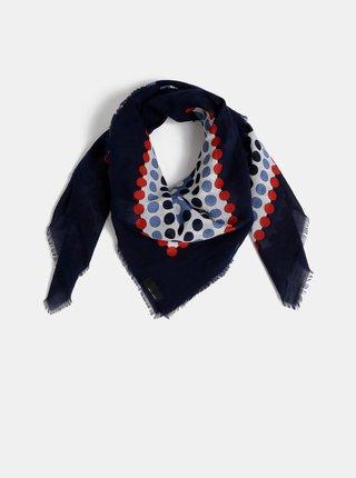 Tmavě modrý dámský puntíkovaný šátek Fraas