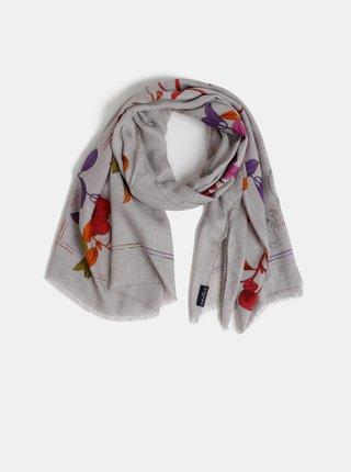 Světle šedý dámský květovaný šátek Fraas
