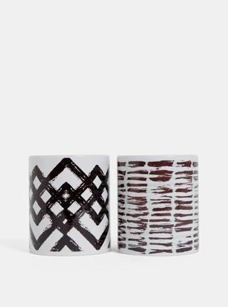 Sada dvou bílých vzorovaných hrnků Butter Kings Hearts Abstract Art