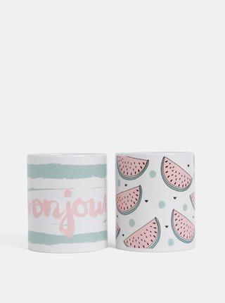 Sada dvou vzorovaných hrnků v bílé a růžové barvě Butter Kings Bonjour Melon
