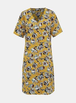 Horčicové kvetované šaty Jacqueline de Yong Win