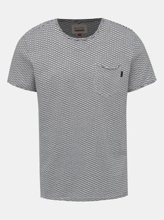 Černo-bílé pruhované tričko s náprsní kapsou Blend