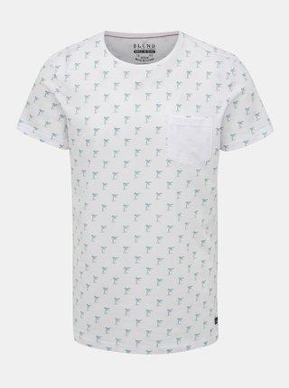 Bílé vzorované tričko s náprsní kapsou Blend