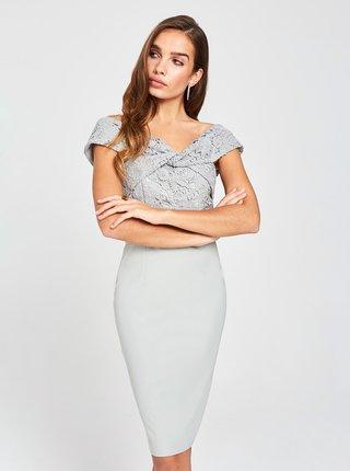 Šedé pouzdrové šaty s krajkou Little Mistress