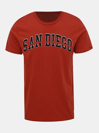 Červené tričko s potlačou Jack & Jones Dept