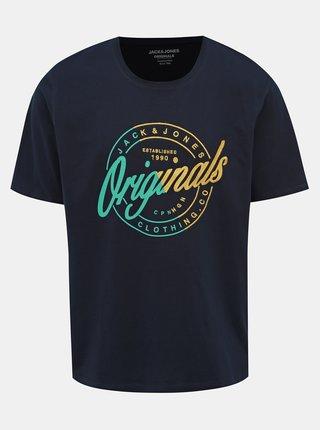 Tmavomodré tričko s potlačou Jack & Jones Rival