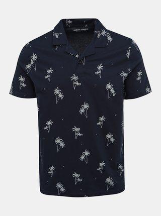 Tmavomodré vzorované polo tričko Jack & Jones Perry