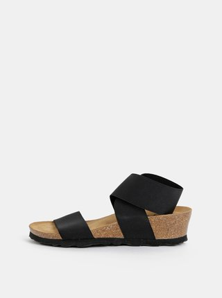 Čierne sandále na plnom podpätku s elastickými pásmi OJJU