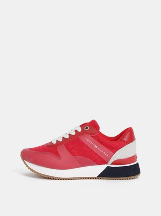 Červené dámske tenisky s koženými detailmi Tommy Hilfiger