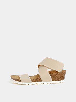 Béžové sandály na klínku s elastickými pásy OJJU
