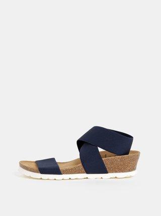 Tmavomodré sandále na plnom podpäku s elastickými pásmi OJJU