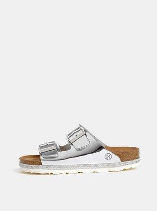 Lesklé pantofle ve stříbrné barvě OJJU