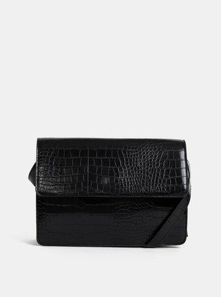 Černá crossbody kabelka s krokodýlím vzorem Pieces Julie