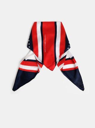 Modro-červený dámský vzorovaný šátek Tommy Hilfiger