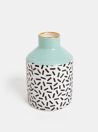 Bílo-zelená vzorovaná váza Sass & Belle