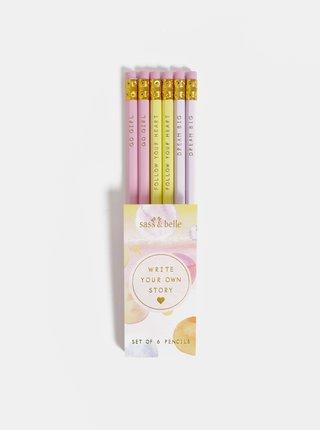 Sada šesti růžových tužek Sass & Belle