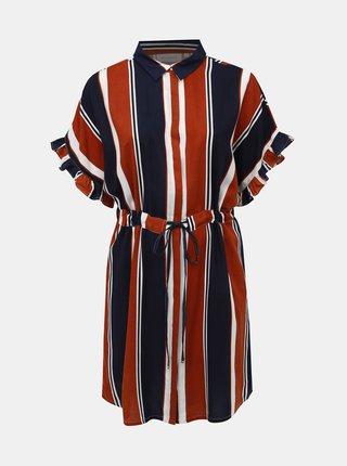 Modro-hnedé pruhované košiľové šaty ONLY CARMAKOMA Viaugusta