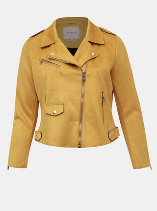 Žltá bunda v semišovej úprave ONLY CARMAKOMA Carsherry