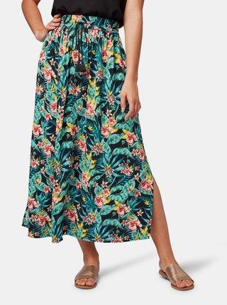 Zeleno-černá vzorovaná midi sukně Tom Tailor