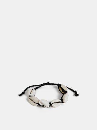 Čierno-krémový náramok s mušlami ONLY Skylar