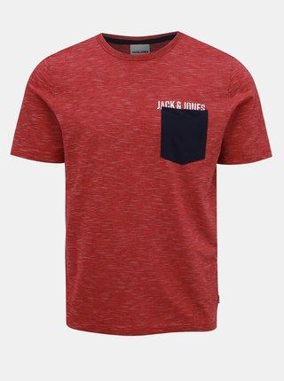 Červené pruhované tričko Jack & Jones Pocketer