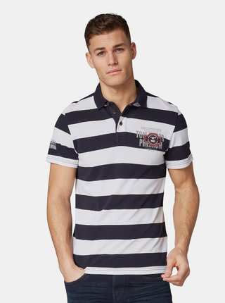 Tricouri polo pentru barbati Tom Tailor - albastru inchis, alb