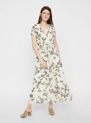 Krémové květované maxišaty s překládanou sukní VERO MODA Amsterdam