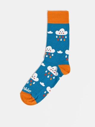 Modré dámske vzorované ponožky Fusakle Mrakoty