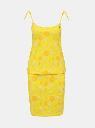 Žluté květované šaty na ramínka LOAP Baja