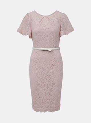 Starorůžové krajkové šaty s páskem Dorothy Perkins