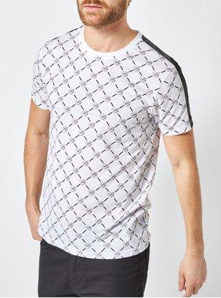 Bílé vzorované tričko s pruhem na ramenou Burton Menswear London