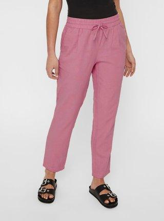 Pantaloni roz prafuit din in cu talie inalta VERO MODA Anna
