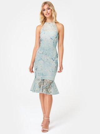 Světle modré krajkové šaty s volánem Paper Dolls