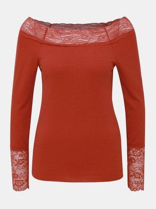 Cihlové tričko s krajkou VILA Sofi