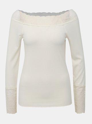 Krémové tričko s krajkou VILA Sofi