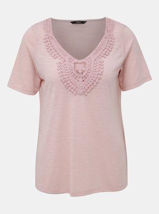 Světle růžové tričko ONLY Lisa