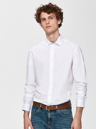 Biela slim fit košeľa Selected Homme Mark