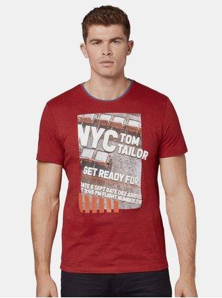 Červené pánske žíhané tričko s potlačou Tom Tailor