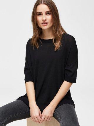 Tricou negru tricotat cu taieturi Selected Femme Wille
