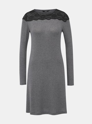 Šedé žíhané šaty s krajkou ONLY Deal