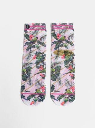 Rúžové dámske kvetované ponožky XPOOOS