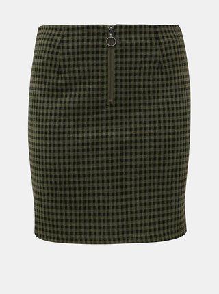 Khaki kostkovaná pouzdrová sukně Noisy May Boss
