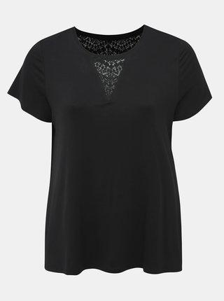 Čierne tričko s krajkou Zizzi Hugo