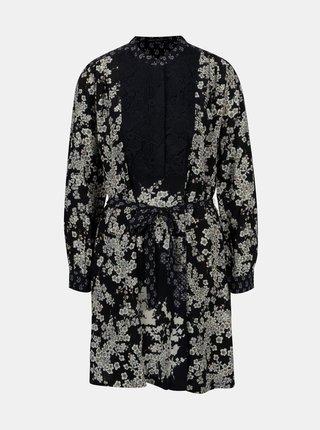Tmavomodré kvetované šaty s opaskom French Connection