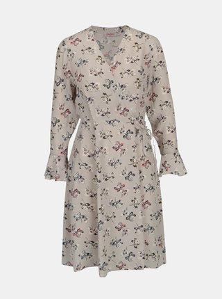 Sivé dámske kvetované šaty s prekladaným výstrihom Cath Kidston
