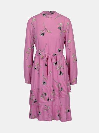 Rochie roz cu aspect 2 in 1 si volane cu pliseuri - VERO MODA Elena