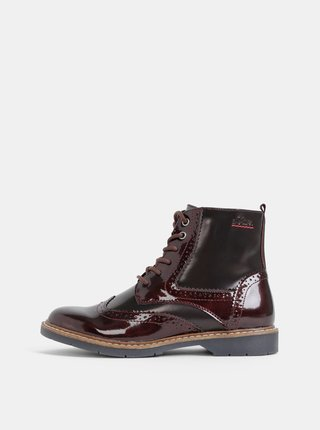 Vínové dámske kotníkové topánky s.Oliver