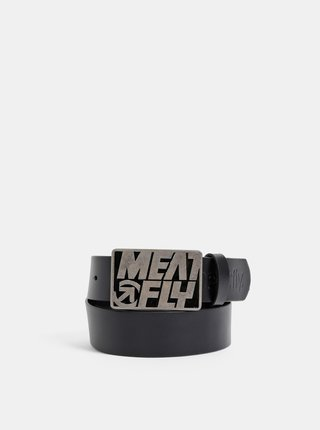 Černý pánský kožený pásek Meatfly Butch