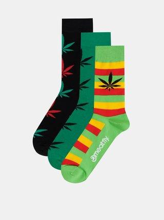 Sada tří párů pánských vzorovaných ponožek v zelené a černé barvě Meatfly
