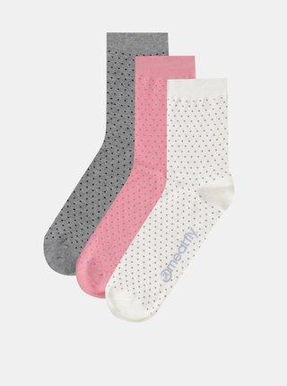 Sada troch párov dámskych ponožiek v krémovej, rúžovej a šedej farbe Meatfly